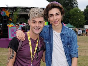 Jaymi Hensley and George Shelley of Union J in the Virgin Media Louder Lounge
