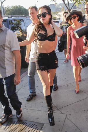 Lady GaGa, bra, The Abbey, Los Angeles