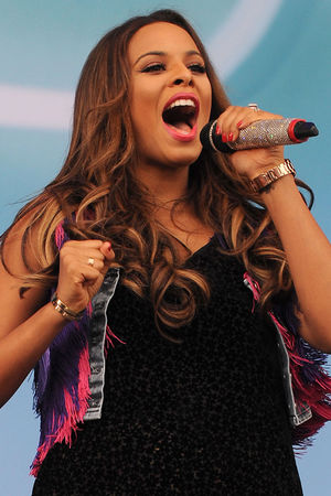 Rochelle Humes of The Saturdays performs on the Virgin Media Stage at Weston Park