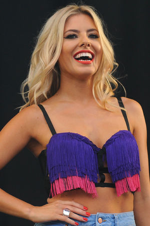 Mollie King of The Saturdays performs on the Virgin Media Stage at Weston Park