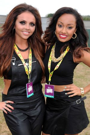 Jesy Nelson and Leigh-Anne Pinnock of Little Mix in the Virgin Media Louder Lounge