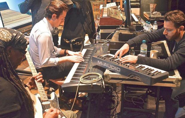 Nile Rodgers, Chase & Status in the studio.