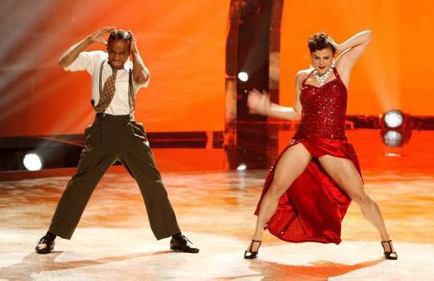 "Fik-Shun and all-star dancer Melanie Moore perform a Jazz routine to ""Feeling Good"" choreographed by Mandy Moore"