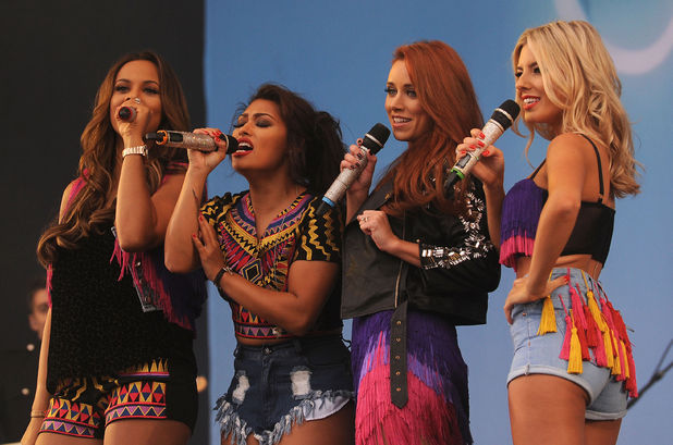 The Saturdays perform on the Virgin Media Stage at Weston Park