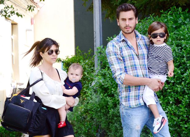 Kourtney Kardashian and Scott Disick with children Mason and Penelope