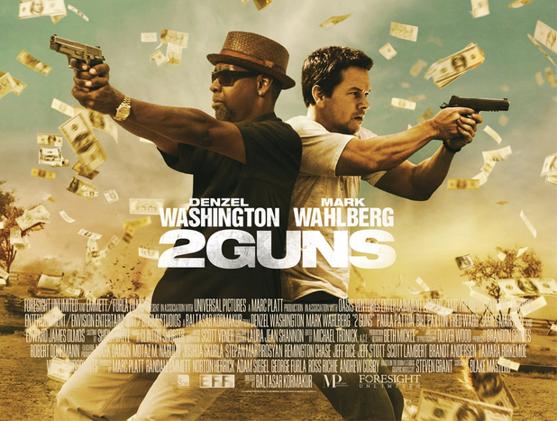 Mark Wahlberg and Denzel Washington in '2 Guns' poster