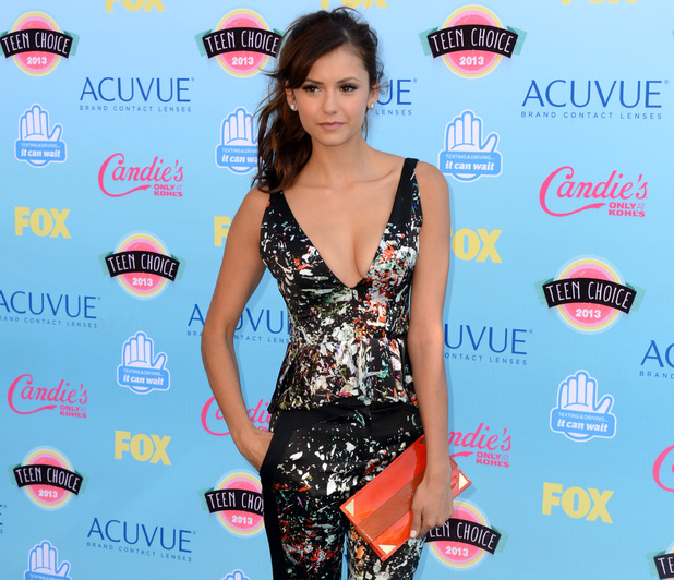 Nina Dobrev arriving at the Teen Choice Awards 2013