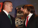 John Cena and Daniel Bryan at a WWE SummerSlam 2013 press conference, August 13, 2013