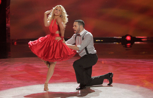Aaron Turner and All Star Chelsie Hightower perform a Jive routine choreographed by Chelsie Hightower