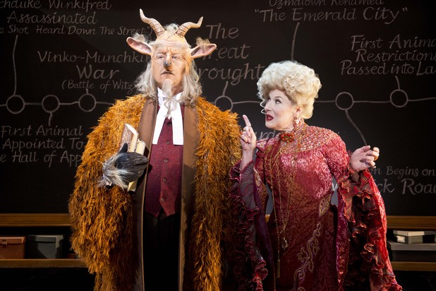 Doctor Dillamond (Dale Rapley) and Madame Morrible (Marilyn Cutts)
