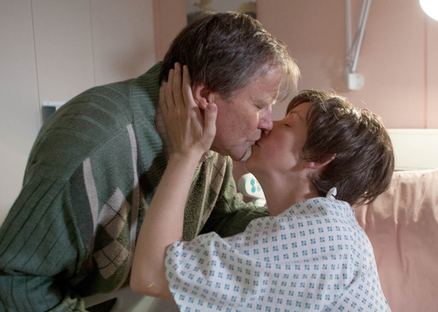 Roy kisses Hayley before her surgery.