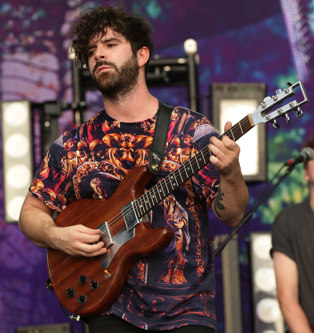 Yannis Philippakis of Foals performing on the Main Stage.