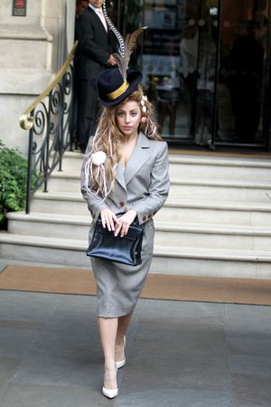 Lady Gaga out and about in London, Britain - 28 Aug 2013 Vivienne Westwood skirt suit