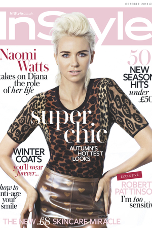 Naomi Watts on the cover of the October issue of UK InStyle.