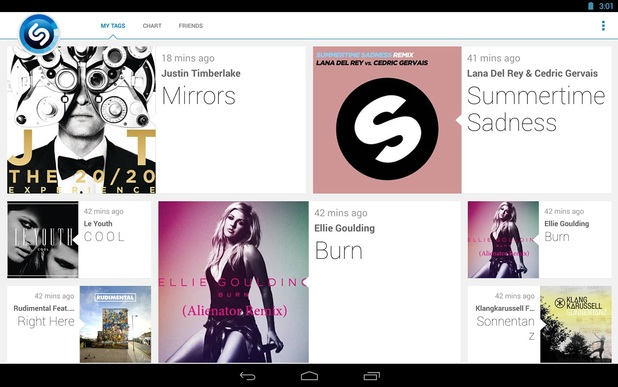 Screenshot of Shazam running on Android devices