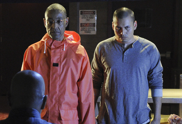 Breaking Bad S04E1: Gustavo Fring (Giancarlo Esposito) and Victor (Jeremiah Bitsui)