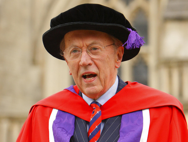 Sir David Frost in 2009 outside Winchester Cathedral where he has been awarded an honorary degree by the city's university.