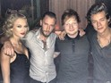 The pair pose with Ed Sheeran and DJ Spiky Phil backstage at ceremony.