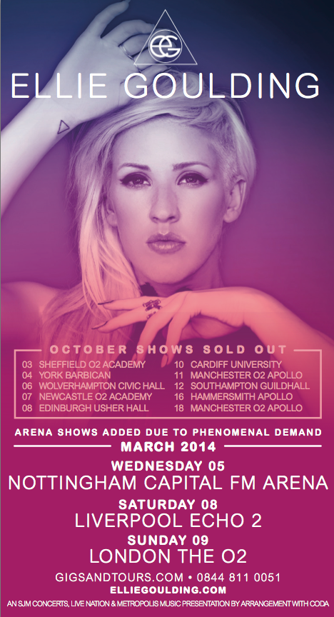 Ellie Goulding arena tour dates
