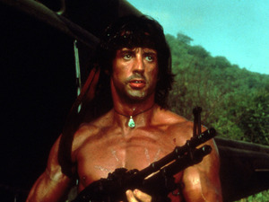 FILM STILLS OF 'RAMBO' WITH 1985, MACHINE GUN, SYLVESTER STALLONE, WEAPONS IN 1985 1985