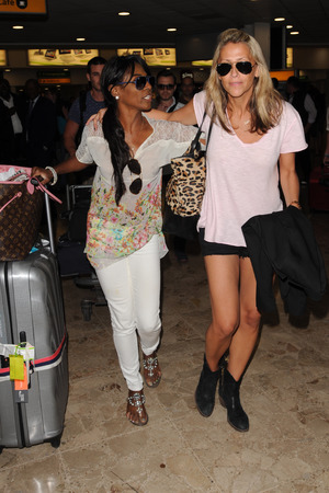 Sinitta and Nicole Appleton sighting at Heathrow on September 4, 2013 in London