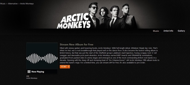 Arctic Monkeys album AM is available to stream on iTunes.