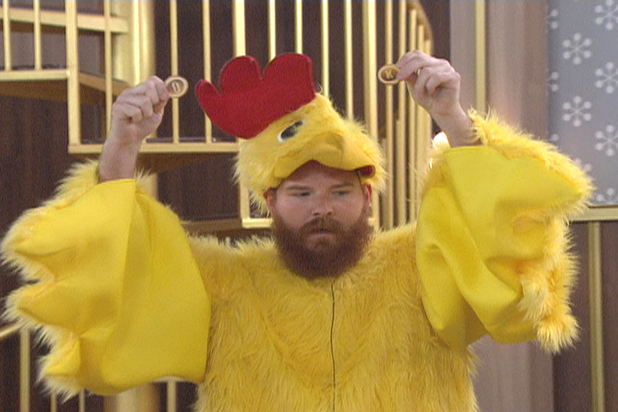 Spencer dressed as a chicken