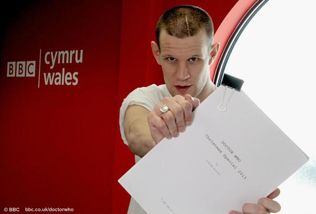 Matt Smith with the script for his final 'Doctor Who' episode.