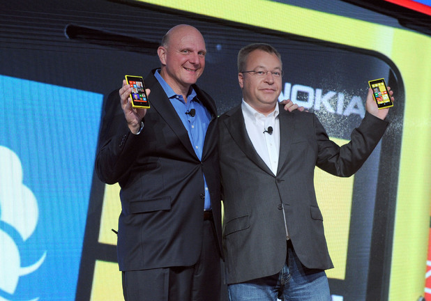 Microsoft CEO Steve Ballmer, left, and Nokia President and CEO Stephen Elop unveil the Nokia Lumia 920 and Nokia Lumia 820, Nokia's first devices for Windows Phone 8