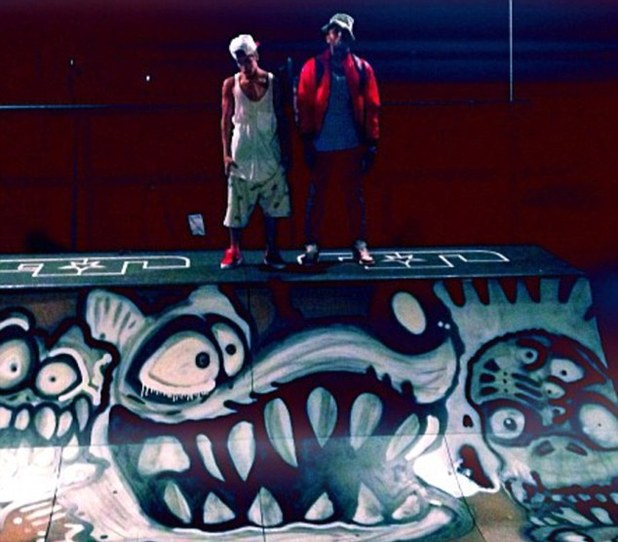 Justin Bieber and Chris Brown hang at the skatepark