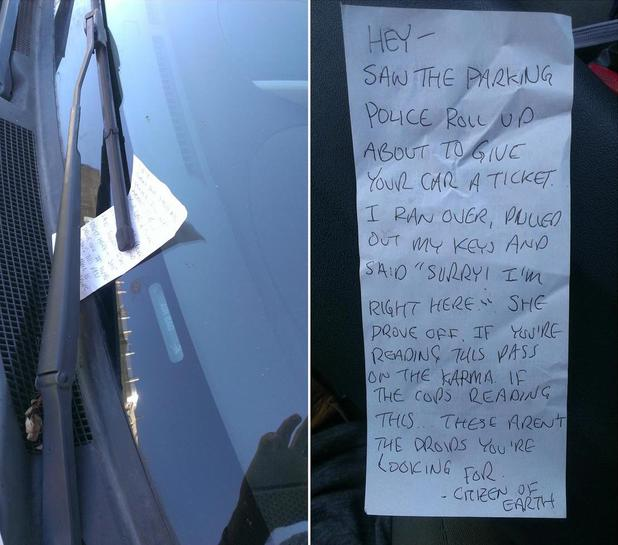 Pedestrian helps car owner avoid parking ticket, leaves note