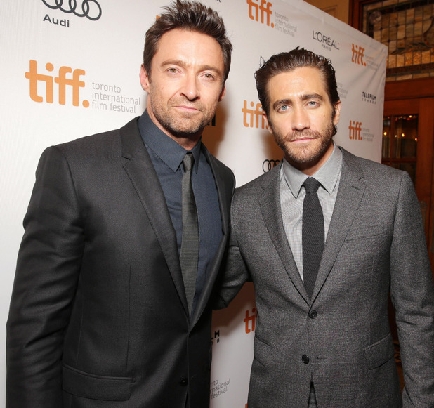 Hugh Jackman and Jake Gyllenhaal seen at the 'Prisoners' Premiere.