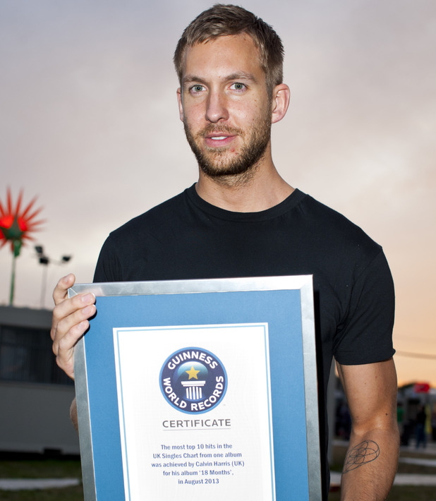 Calvin Harris handed certificate for taking a Guinness World Record