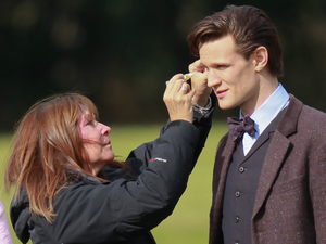 Matt Smith films a scene for the Dr Who Christmas special in Cardiff