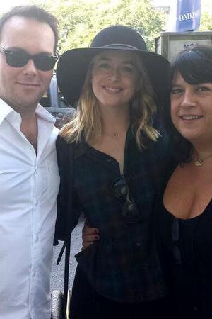 50 Shades of Grey author EL James with actress Dakota Johnson and producer Dana Brunetti