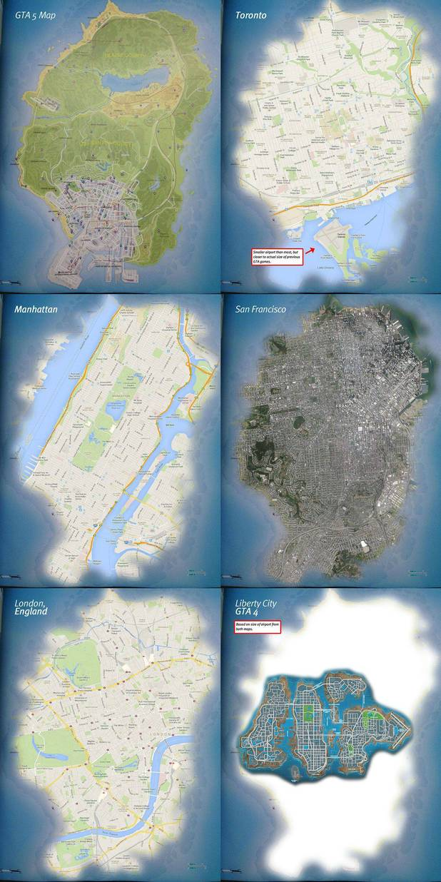 Grand Theft Auto 5 map comparison to major cities