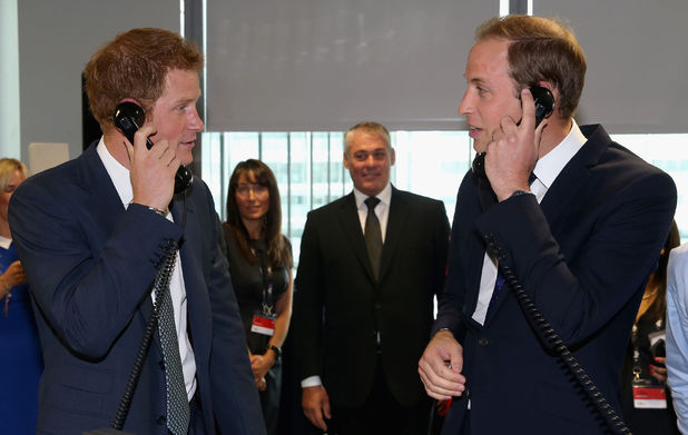 Prince Harry and the Duke of Cambridge on the trading floor during the BGC Partners Charity Day in London's Docklands, 2013.