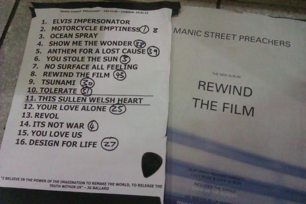Manic Street Preachers 100 Club setlist
