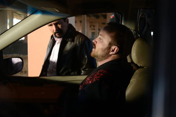 Steven Gomez (Steven Michael Quezada) and Jesse Pinkman (Aaron Paul)
