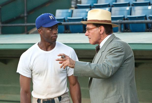 Chadwick Boseman as Jackie Robinson & Harrison Ford as Branch Rickey in '42'