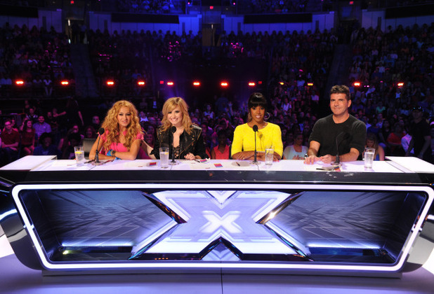 The X Factor USA S03E02: Paulina Rubio, Demi Lovato, Kelly Rowland and Simon Cowell
