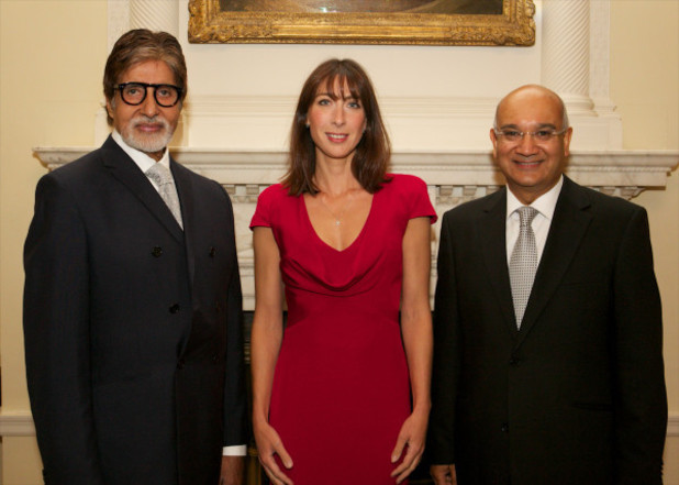 Amitabh Bachchan with Samantha Cameron and Keith Vaz at 10 Downing Street.