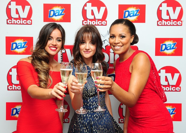 Corrie's Georgia May Foote, Paula Lane and Tisha Merry arriving for the 2013 TV Choice awards at the Dorchester Hotel, London.