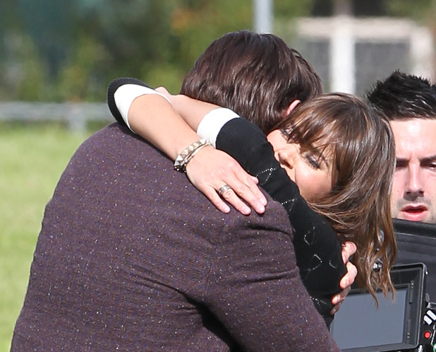 Matt Smith and Jenna-Louise Coleman film a scene for the Dr Who Christmas special in Cardiff
