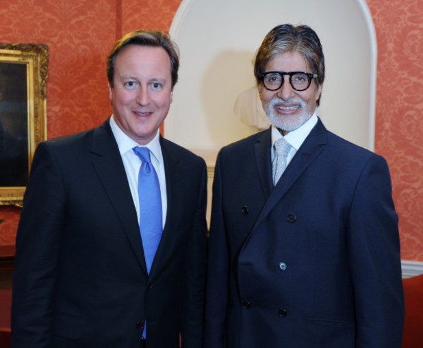 Amitabh Bachchan with David Cameron at 10 Downing Street.