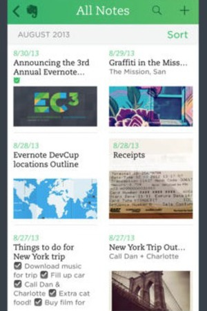 'Evernote' app screengrab.