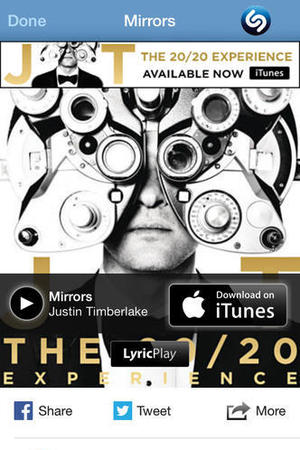 'Shazam' app screengrab.