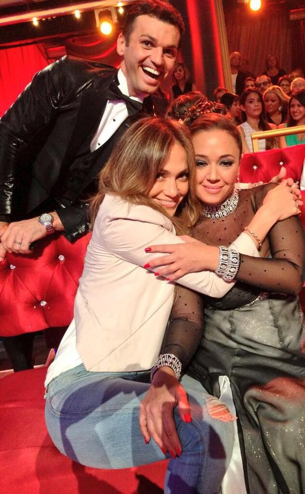 Jennifer Lopez and Leah Remini at 'DWTS' taping