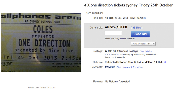 Mother lists daughter's One Direction tickets on eBay