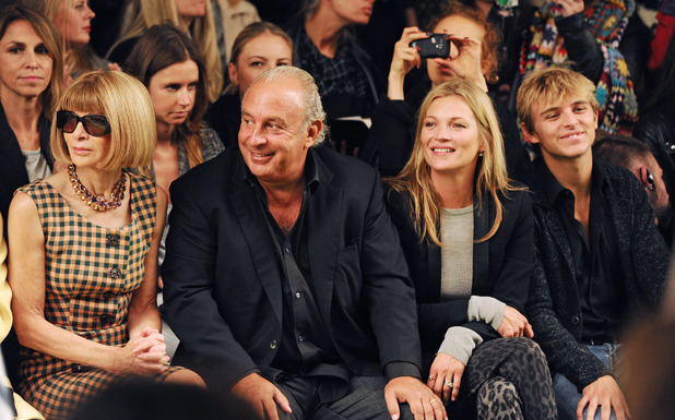 Topshop Unique show, Spring Summer 2014, London Fashion Week, Britain - 15 Sep 2013 Anna Wintour, Sir Philip Green, Kate Moss and Brandon Green